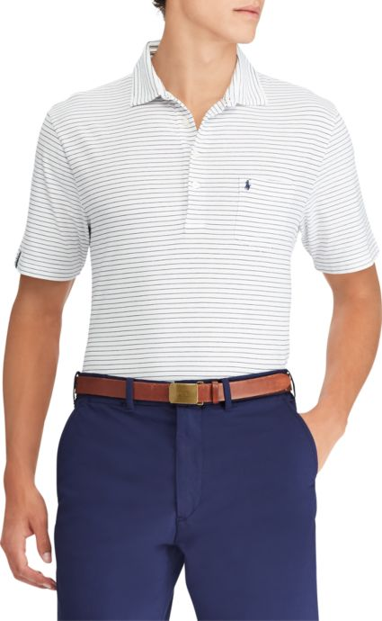 Polo Golf Men's Striped Vintage Lisle Pocket Golf Polo