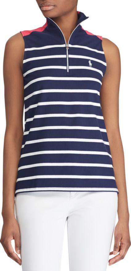 Ralph Lauren Golf Women's Sleeveless Striped Knit Golf Polo