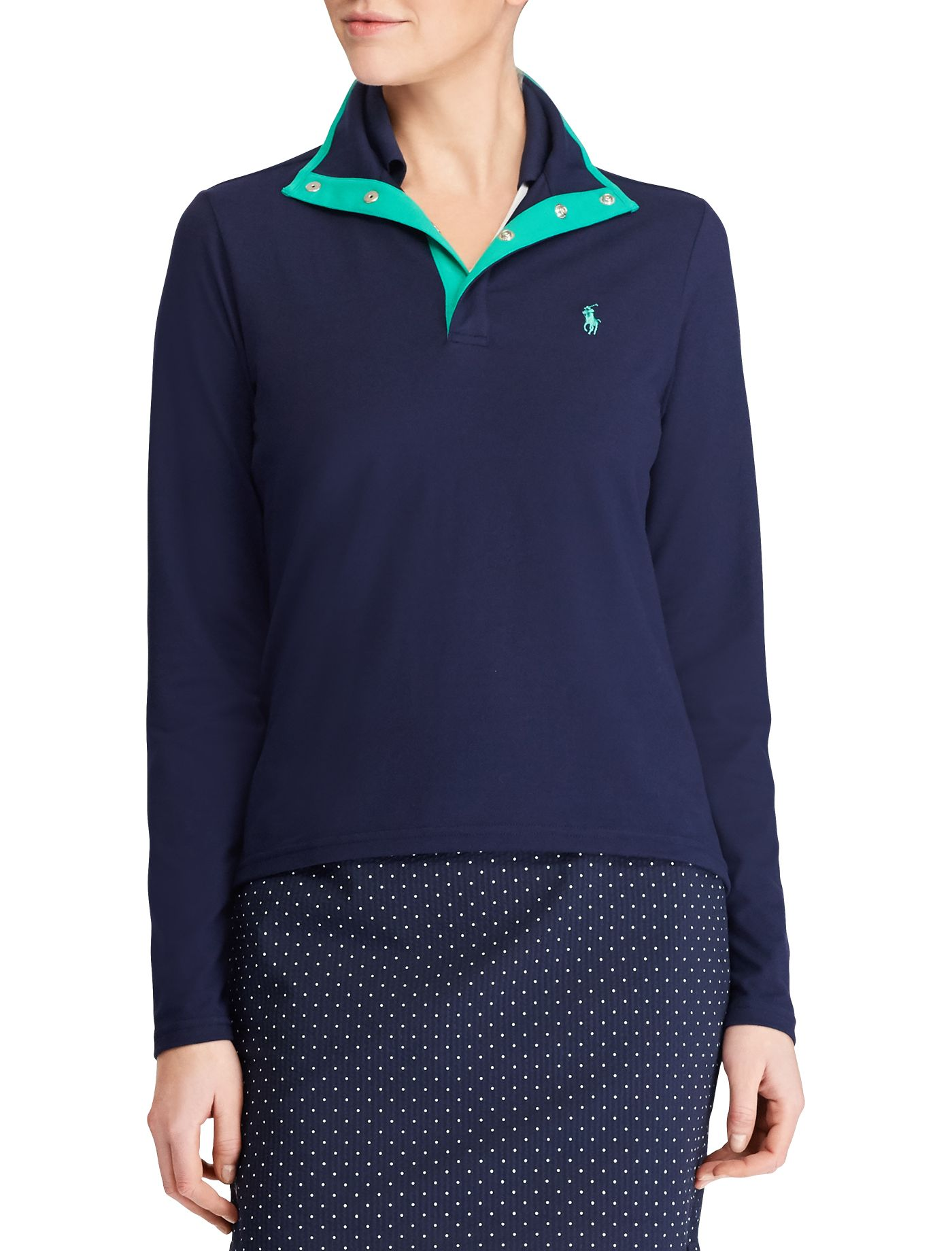 Ralph Lauren Golf Women's Jersey Mock Neck Golf Pullover