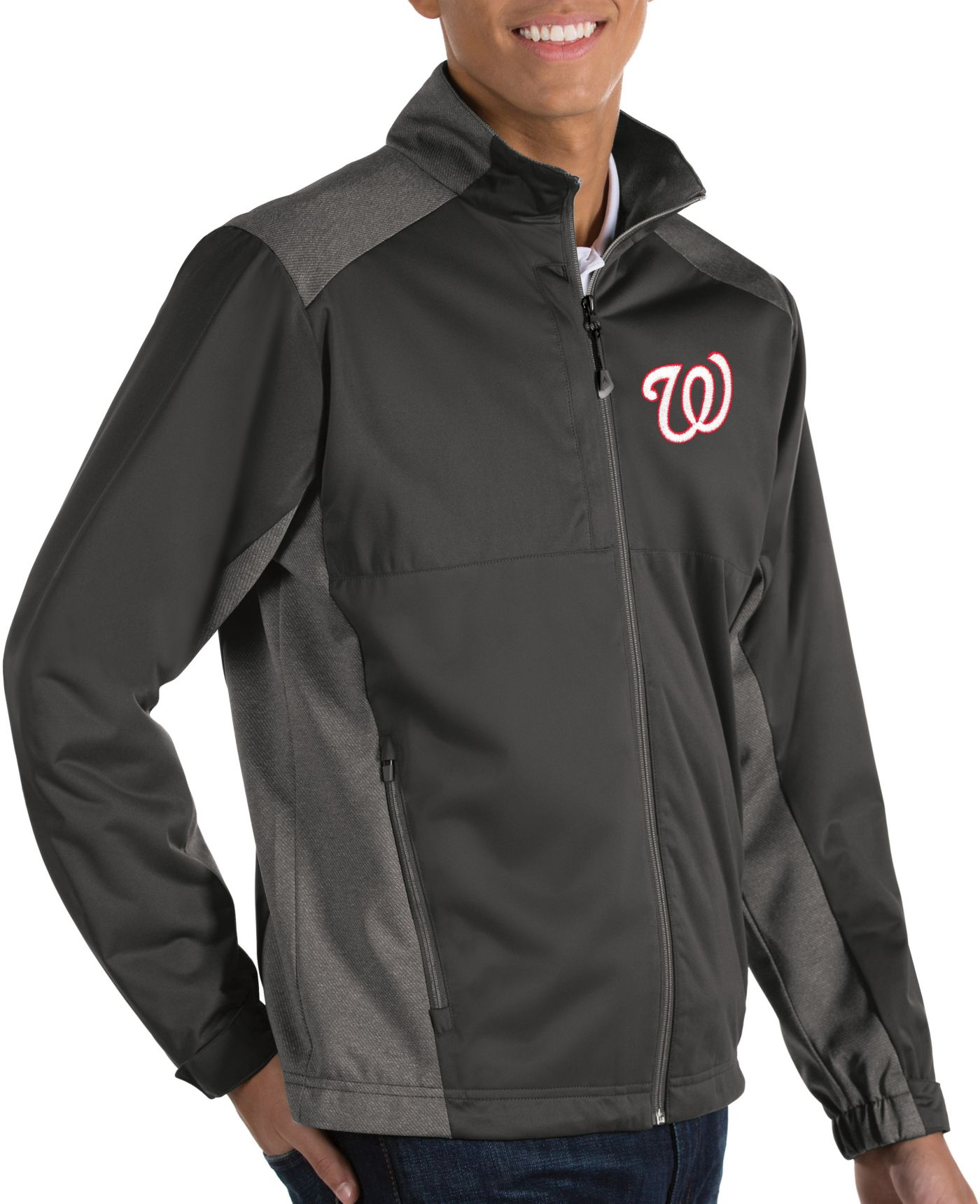 Antigua Men's Washington Nationals Revolve Grey Full-Zip Jacket