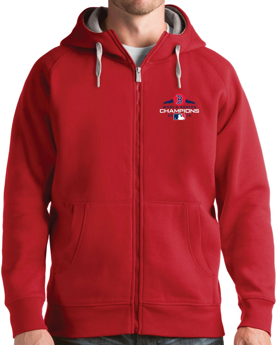 the latest 4e1a5 3c0e5 Antigua Men's 2018 World Series Champions Boston Red Sox Red Victory  Full-Zip Hoodie