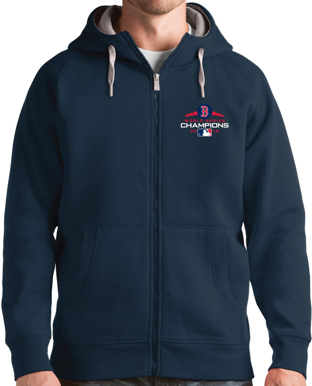buy online 2a597 424a8 Antigua Men's 2018 World Series Champions Boston Red Sox Navy Victory  Full-Zip Hoodie