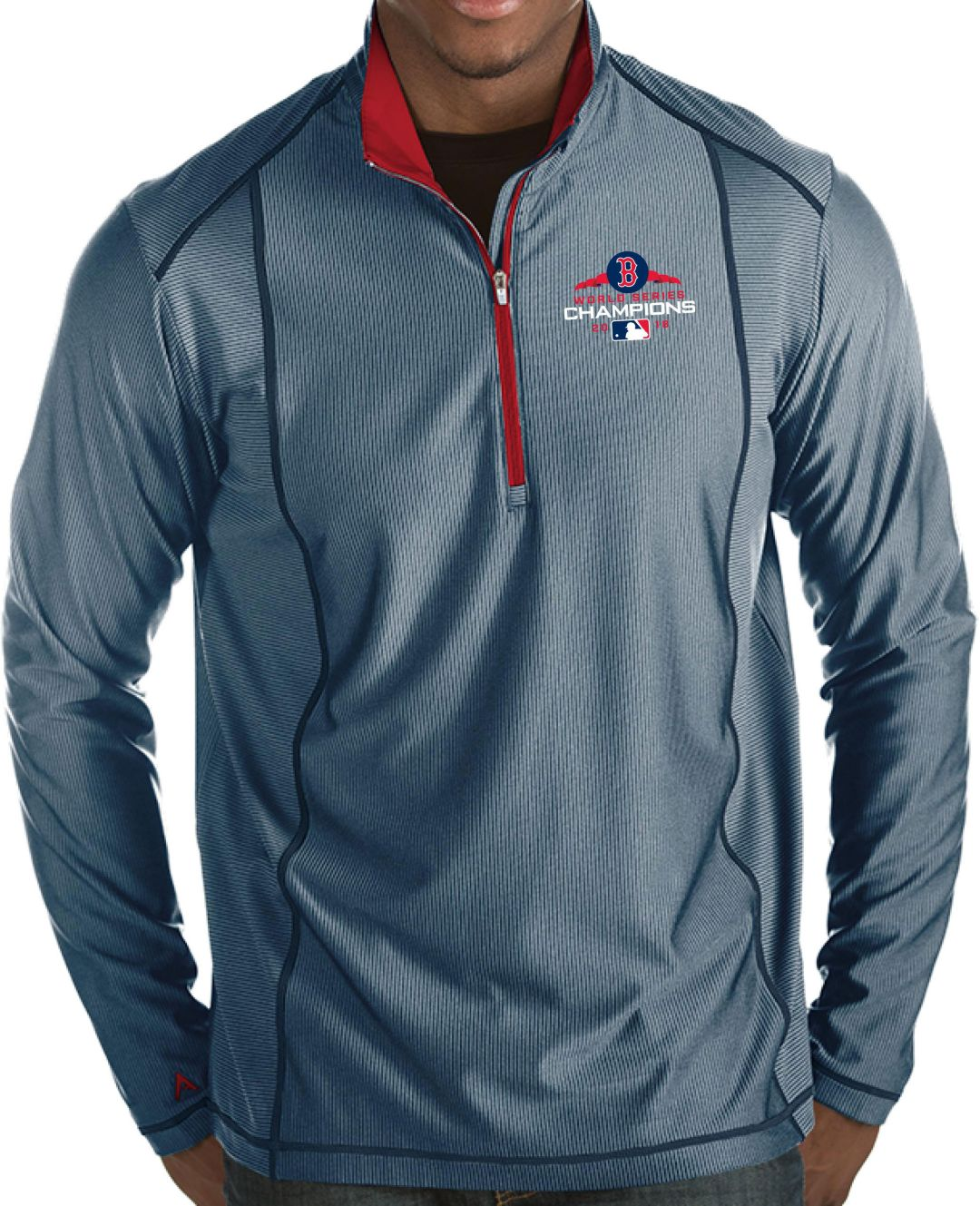 wholesale dealer 5b089 b0df2 Antigua Men's 2018 World Series Champions Boston Red Sox Navy Tempo  Quarter-Zip Pullover