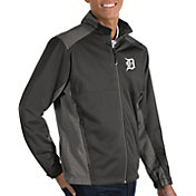 Antigua Men's Detroit Tigers Revolve Grey Full-Zip Jacket