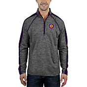 Antigua Men's Orlando City Advantage Black Heathered Quarter-Zip Pullover