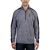 Antigua Men's Seattle Sounders Advantage Navy Heathered Quarter-Zip Pullover