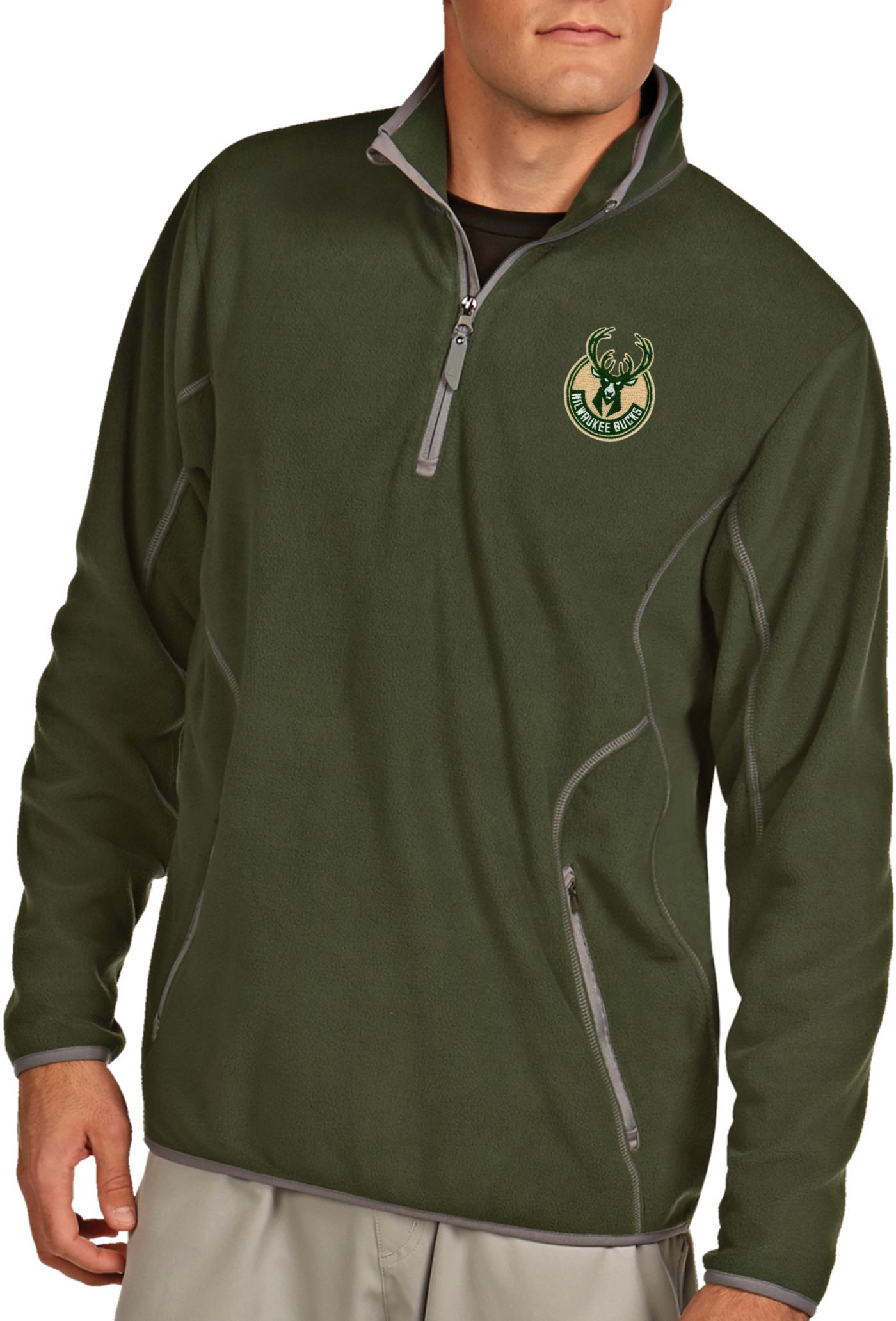 Antigua Men's Milwaukee Bucks Quarter-Zip Green Ice Pullover