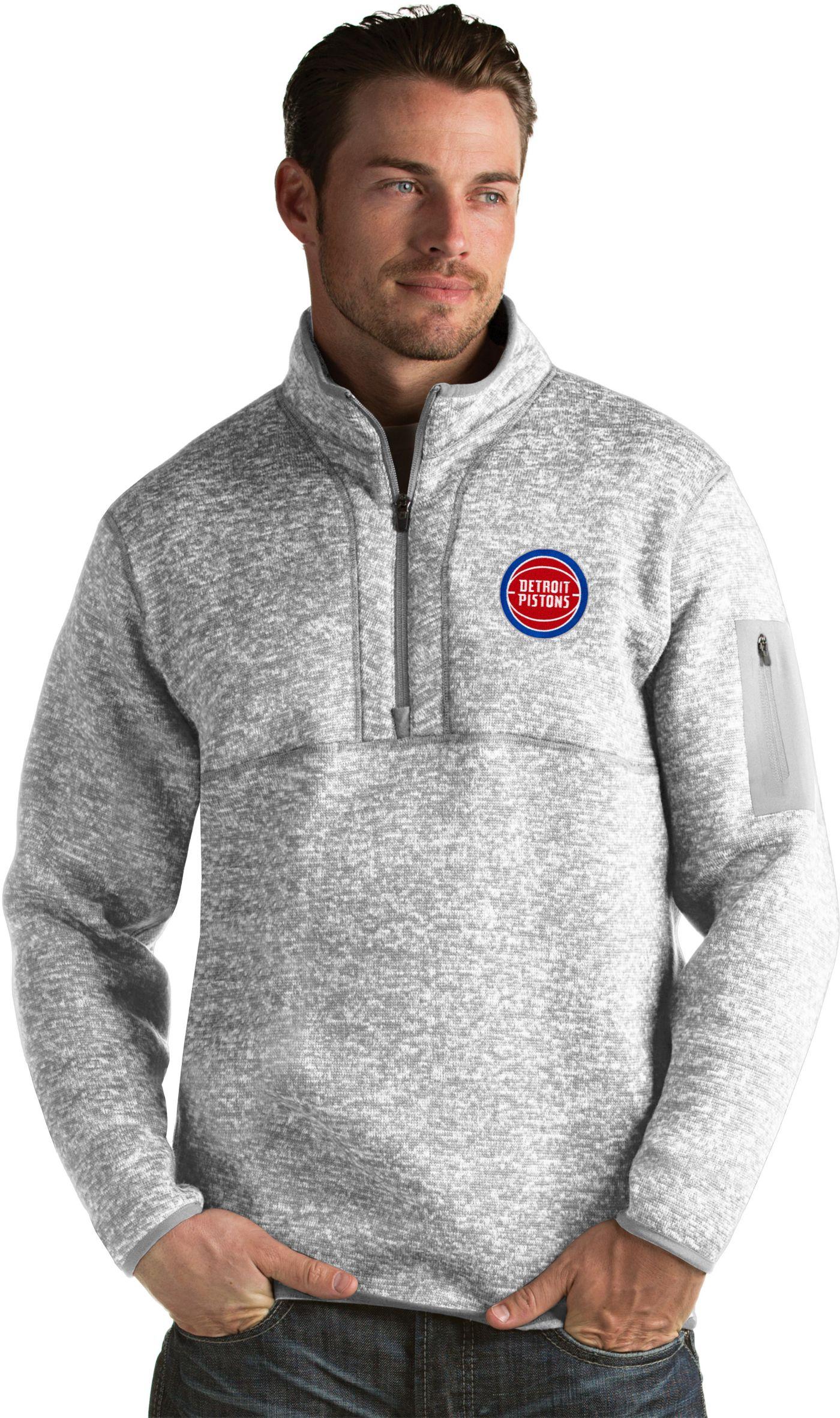 Antigua Men's Detroit Pistons Fortune Grey Half-Zip Pullover