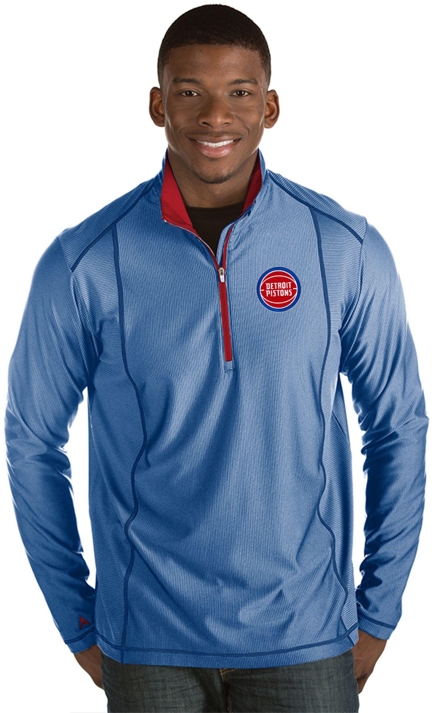 Antigua Men's Detroit Pistons Tempo Royal Quarter-Zip Pullover
