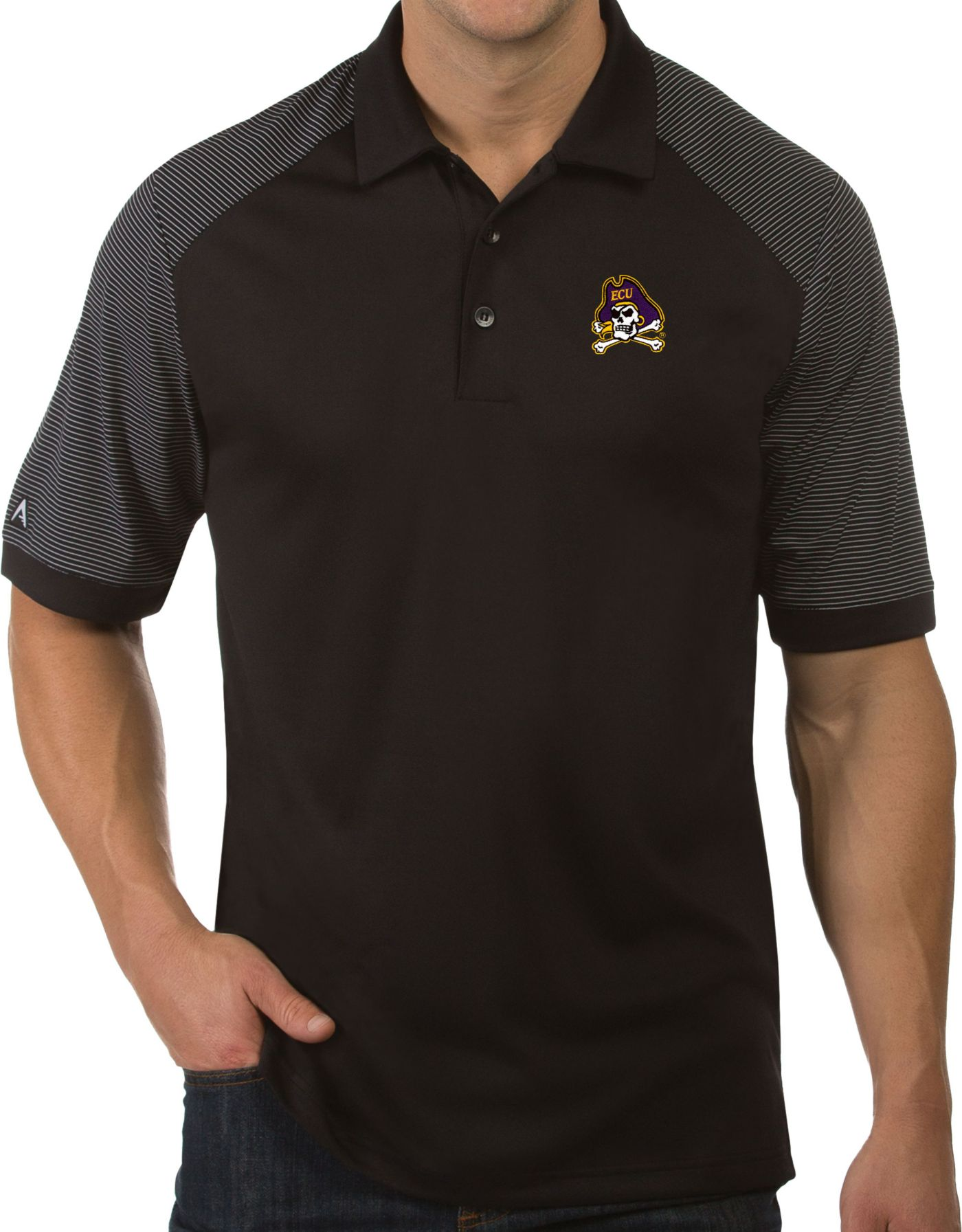 Antigua Men's East Carolina Pirates Engage Performance Black Polo