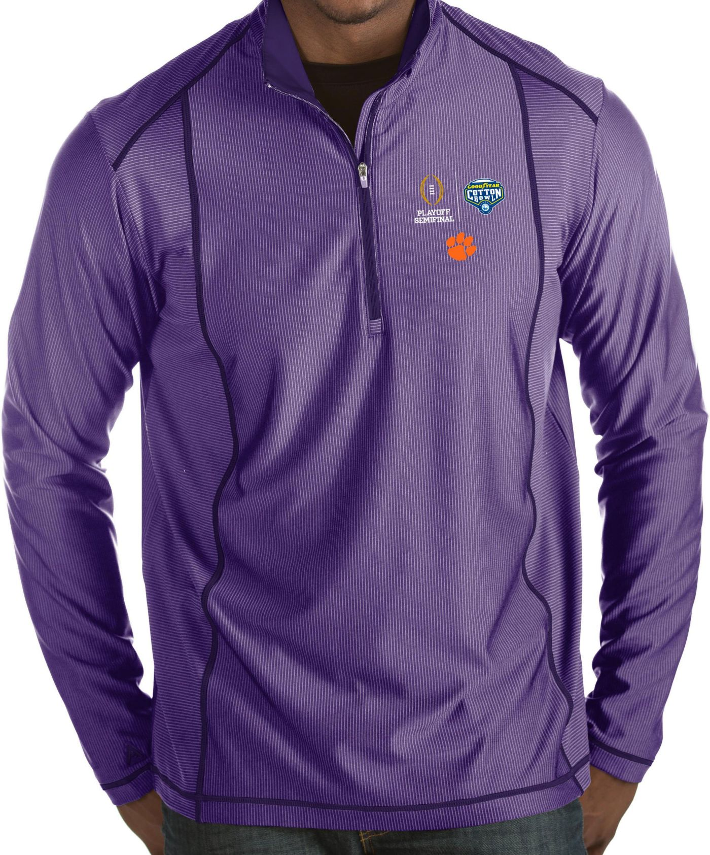 Antigua Men's 2018 Goodyear Cotton Bowl Bound Clemson Tigers Regalia Tempo Half-Zip Pullover