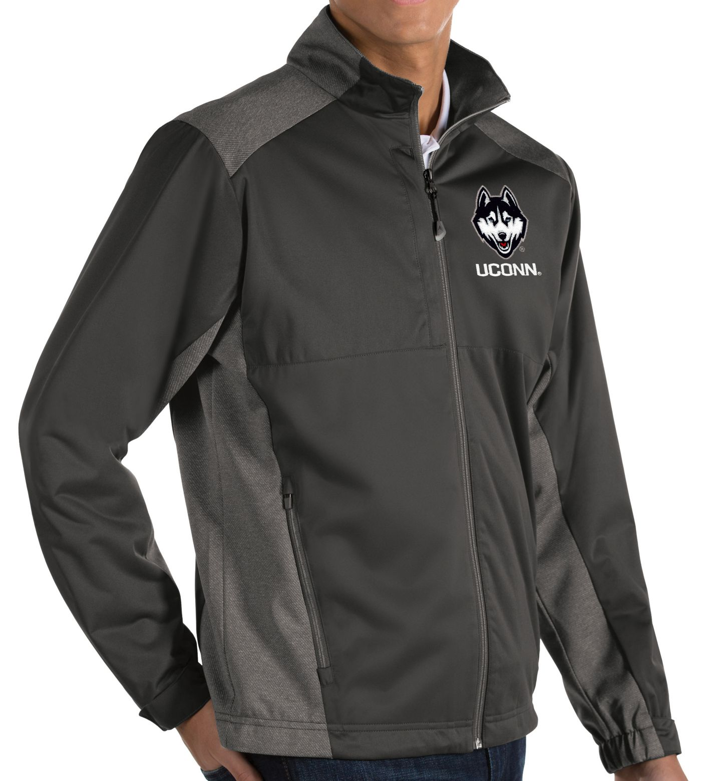 Antigua Men's UConn Huskies Grey Revolve Full-Zip Jacket