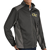 Antigua Men's Georgia Tech Yellow Jackets Grey Revolve Full-Zip Jacket