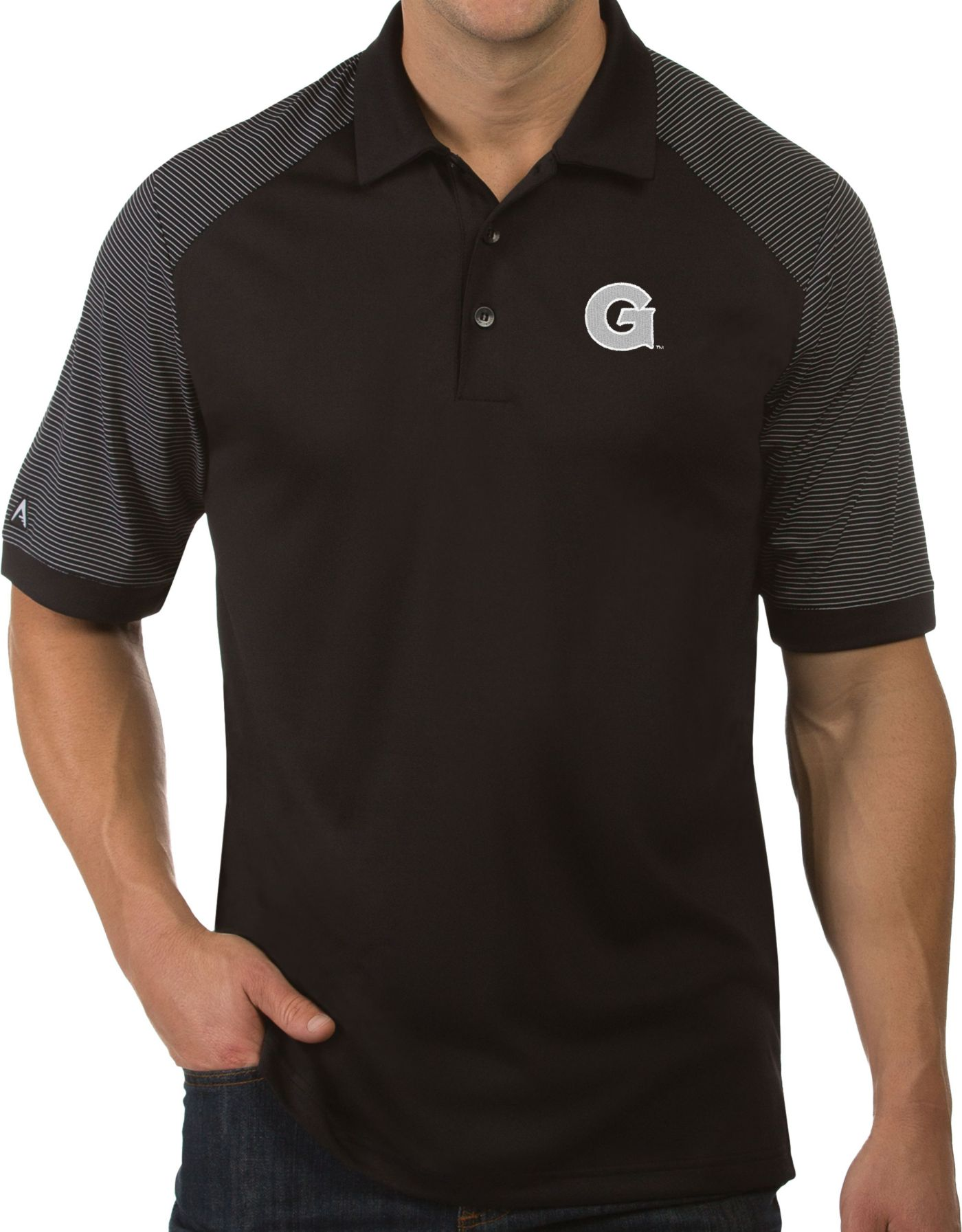 Antigua Men's Georgetown Hoyas Engage Performance Black Polo