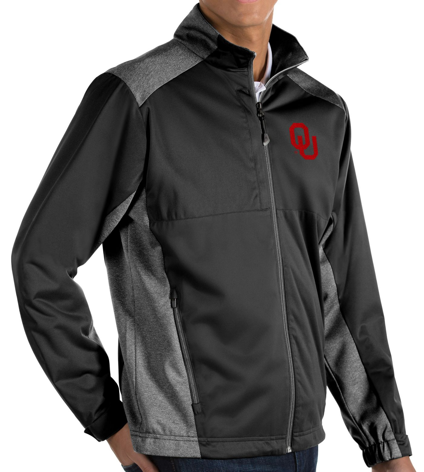 Antigua Men's Oklahoma Sooners Revolve Full-Zip Black Jacket