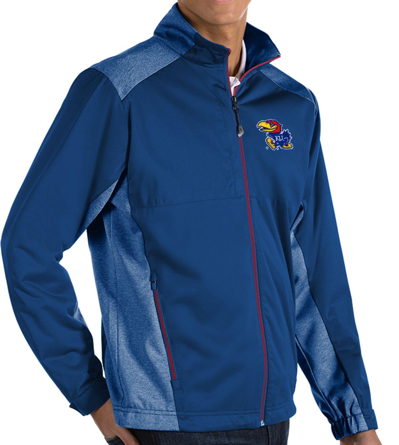 Antigua Men's Kansas Jayhawks Blue Revolve Full-Zip Jacket