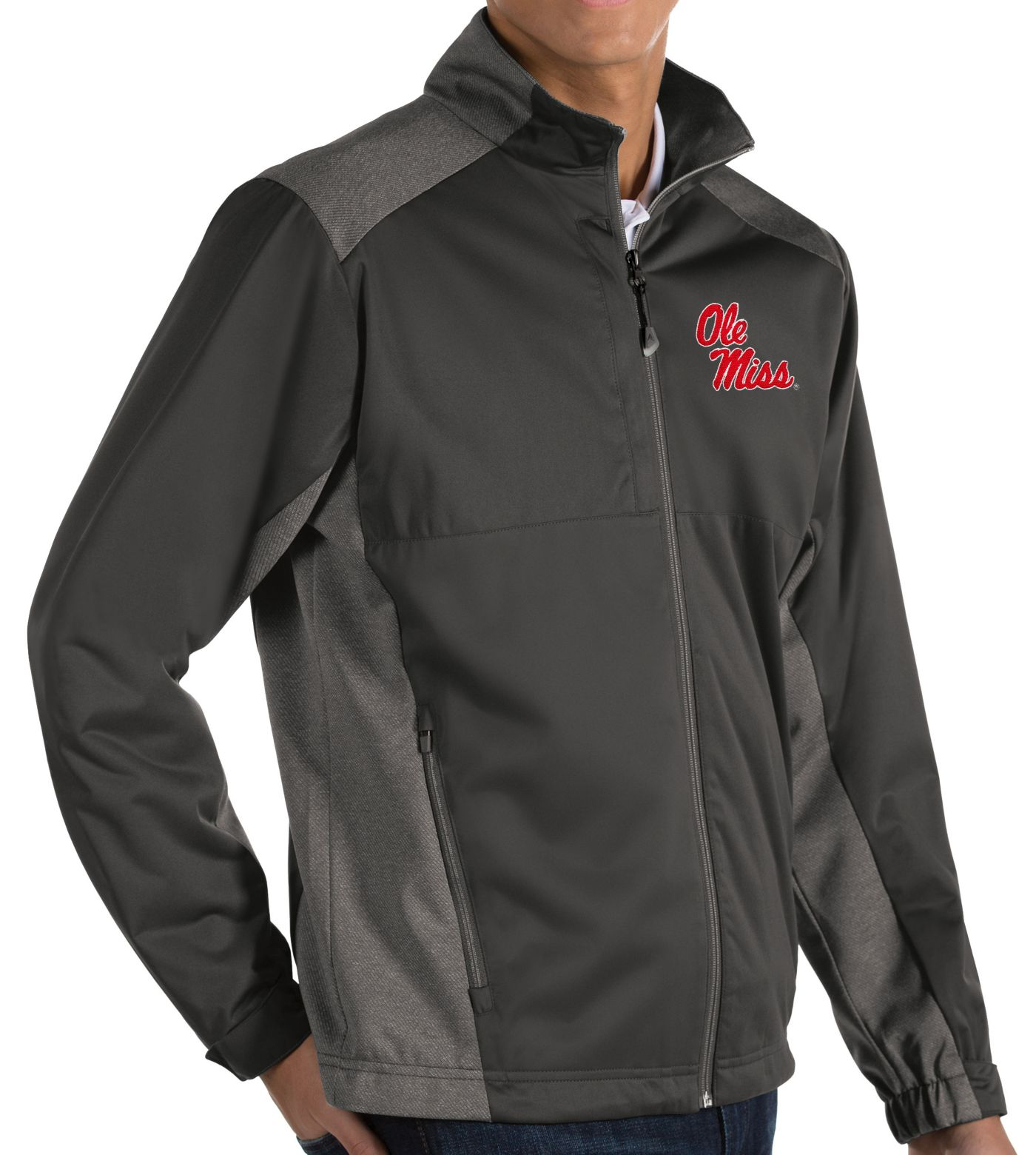 Antigua Men's Ole Miss Rebels Grey Revolve Full-Zip Jacket