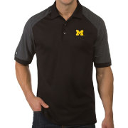 Antigua Men's Michigan Wolverines Engage Performance Black Polo