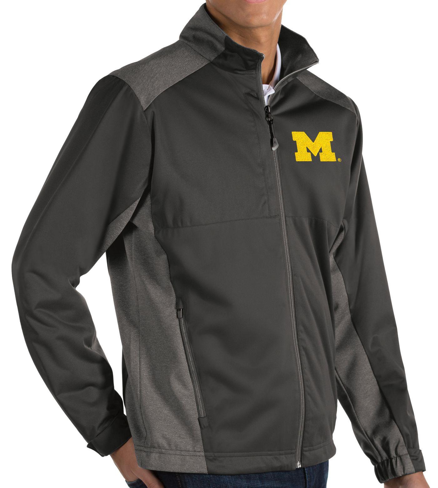 Antigua Men's Michigan Wolverines Grey Revolve Full-Zip Jacket