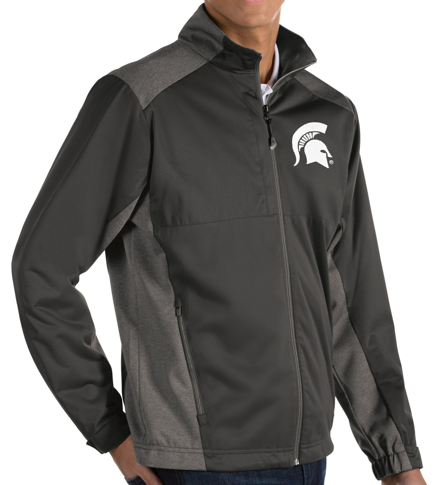 Antigua Men's Michigan State Spartans Grey Revolve Full-Zip Jacket