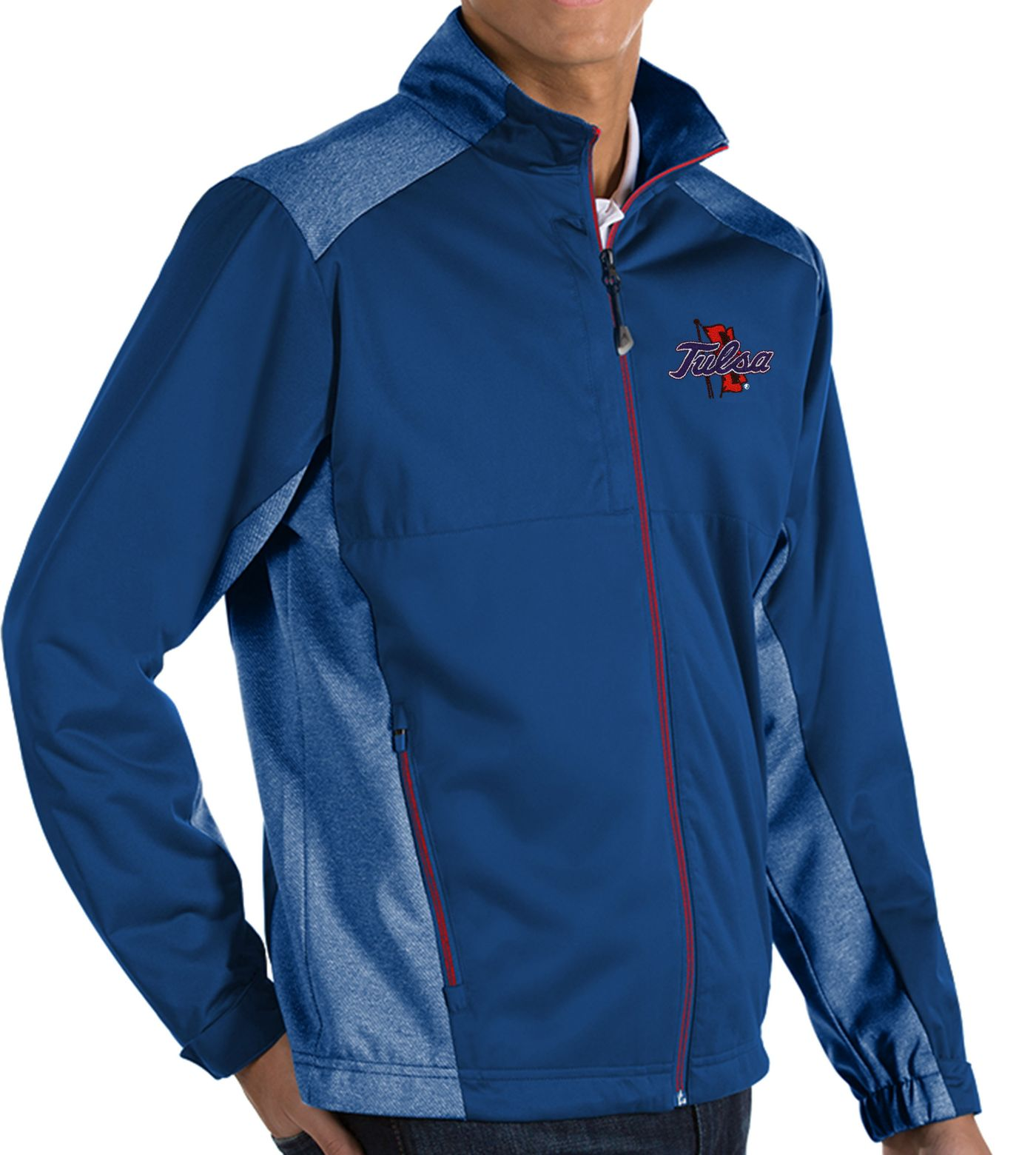 Antigua Men's Tulsa Golden Hurricane Blue Revolve Full-Zip Jacket