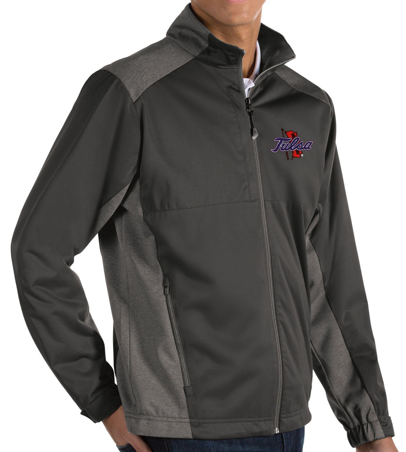 Antigua Men's Tulsa Golden Hurricane Grey Revolve Full-Zip Jacket