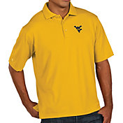Antigua Men's West Virginia Mountaineers Gold Pique Xtra-Lite Polo