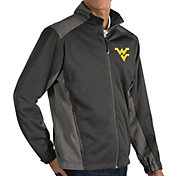 Antigua Men's West Virginia Mountaineers Grey Revolve Full-Zip Jacket