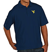 Antigua Men's West Virginia Mountaineers Blue Pique Xtra-Lite Polo