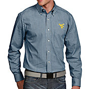 Antigua Men's West Virginia Mountaineers Blue Associate Button Down Long Sleeve Shirt