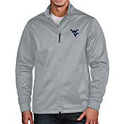 Antigua Men's West Virginia Mountaineers Silver Full-Zip Golf Jacket