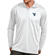 Antigua Men's West Virginia Mountaineers Exceed Long Sleeve White Polo