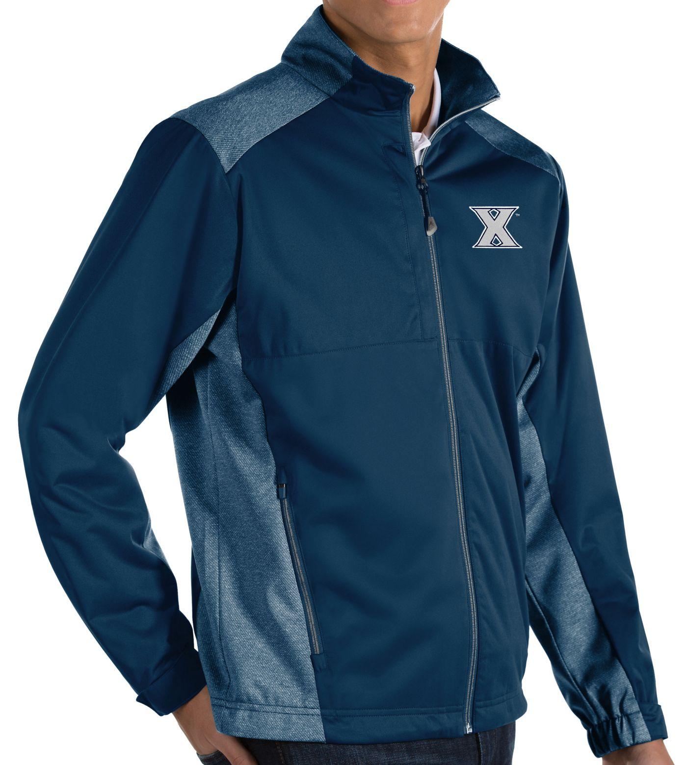 Antigua Men's Xavier Musketeers Blue Revolve Full-Zip Jacket
