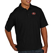 Antigua Men's San Francisco 49ers Pique Xtra-Lite Performance Black Polo