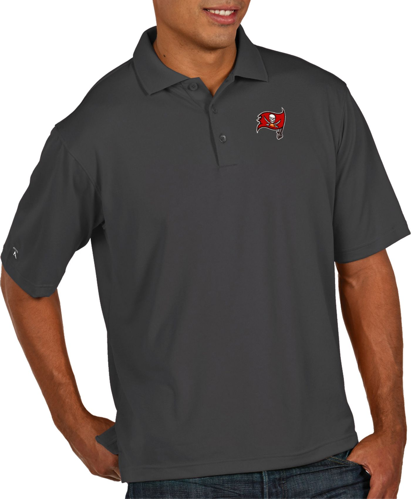 Antigua Men's Tampa Bay Buccaneers Pique Xtra-Lite Performance Smoke Polo