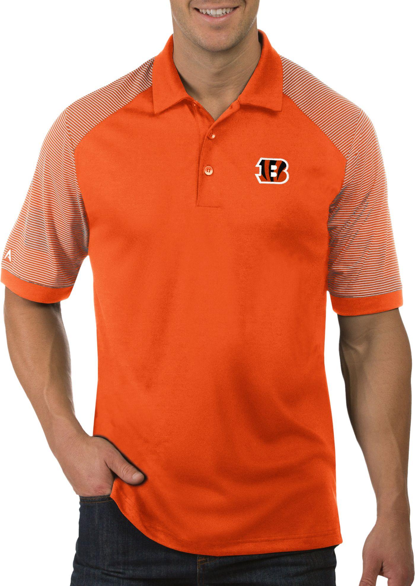 Antigua Men's Cincinnati Bengals Engage Orange Performance Polo