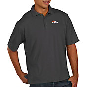 Antigua Men's Denver Broncos Pique Xtra-Lite Performance Smoke Polo