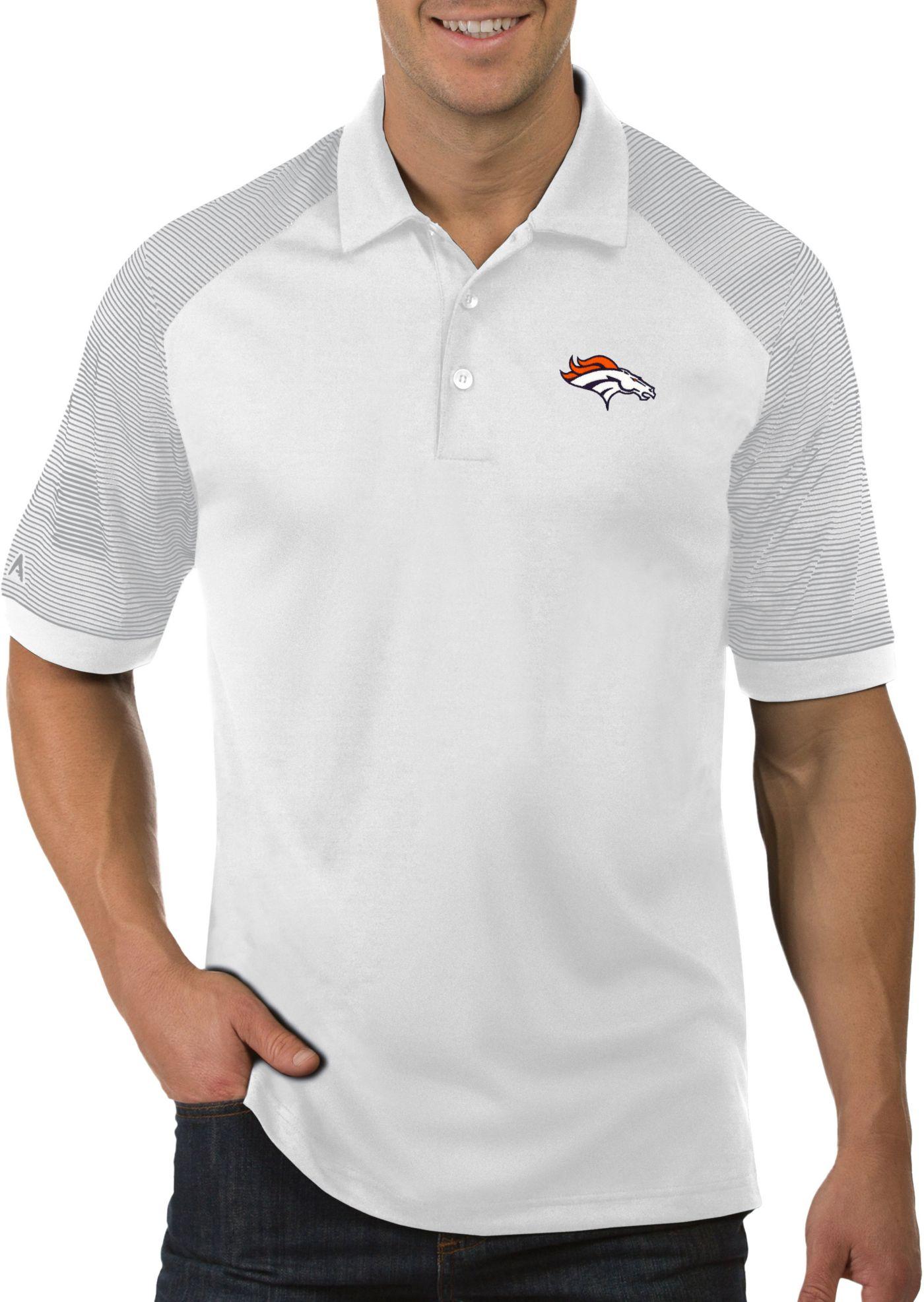 Antigua Men's Denver Broncos Engage White Performance Polo