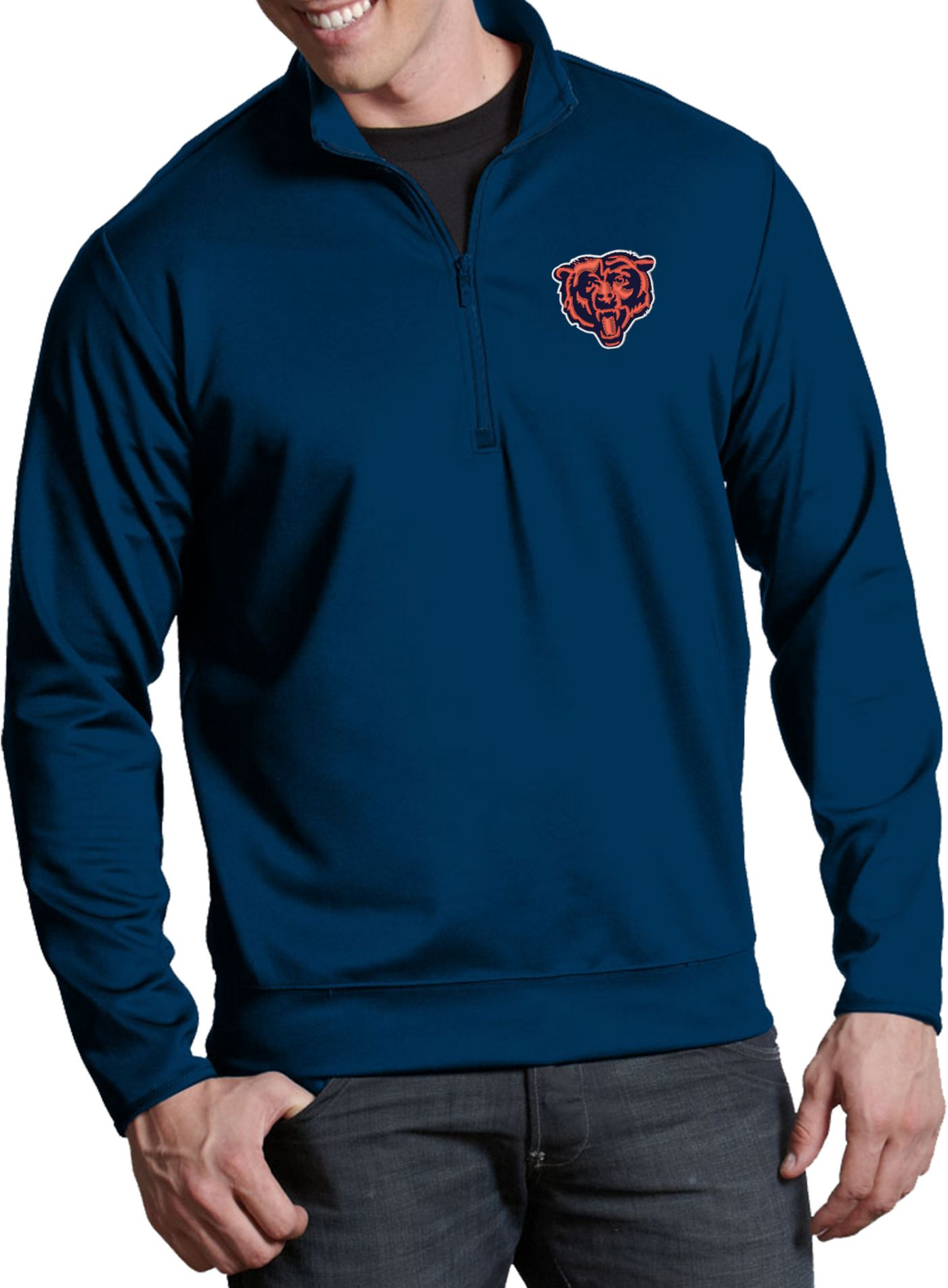 Antigua Men's Chicago Bears Leader Quarter-Zip Navy Pullover Top