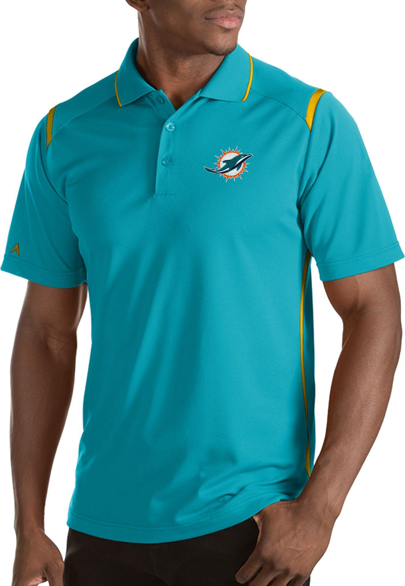 Antigua Men's Miami Dolphins Merit Aqua Xtra-Lite Polo