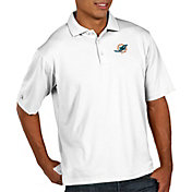 Antigua Men's Miami Dolphins Pique Xtra-Lite Performance White Polo