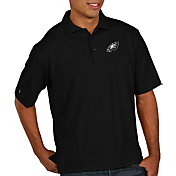 Antigua Men's Philadelphia Eagles Pique Xtra-Lite Performance Black Polo