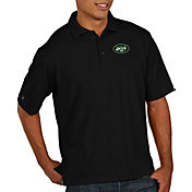 Antigua Men's New York Jets Pique Xtra-Lite Performance Black Polo