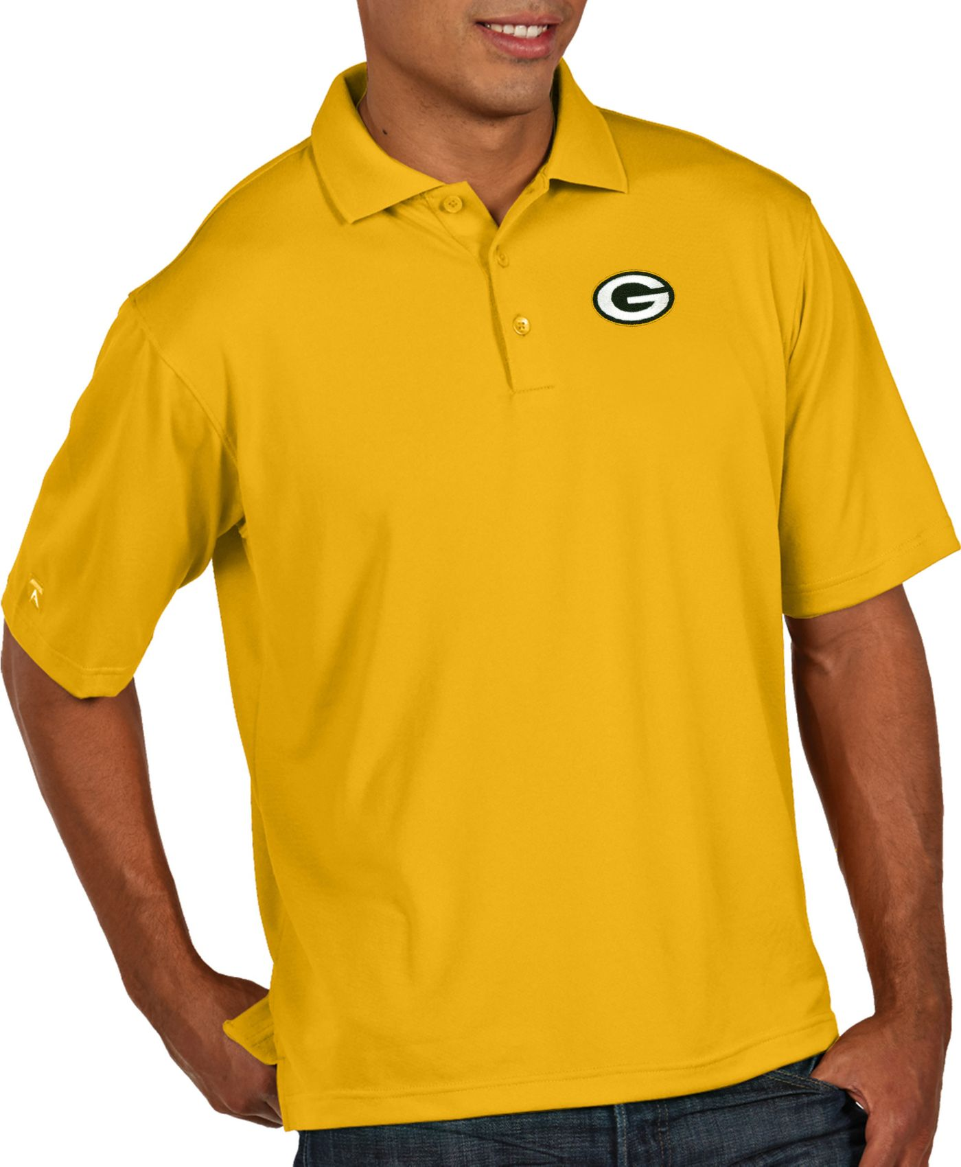 Antigua Men's Green Bay Packers Pique Xtra-Lite Performance Gold Polo