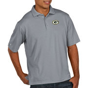 Antigua Men's Green Bay Packers Pique Xtra-Lite Performance Grey Polo