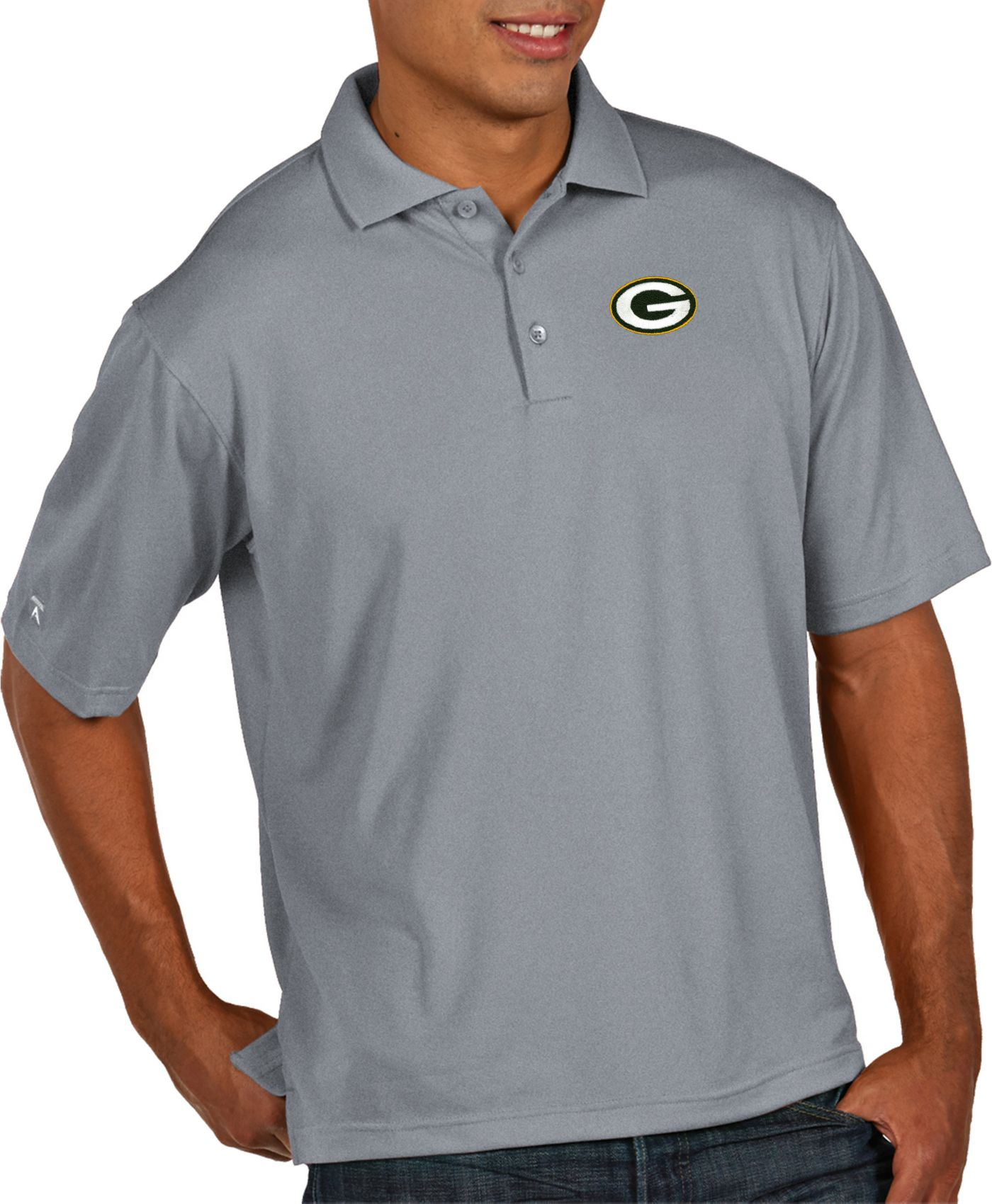 Antigua Men's Green Bay Packers Pique Xtra-Lite Performance Grey Polo