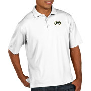 Antigua Men's Green Bay Packers Pique Xtra-Lite Performance White Polo