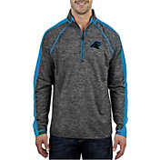 Antigua Men's Carolina Panthers Advantage Black Quarter-Zip Pullover