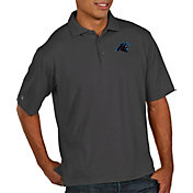 Antigua Men's Carolina Panthers Pique Xtra-Lite Performance Smoke Polo