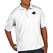 Antigua Men's Carolina Panthers Pique Xtra-Lite Performance White Polo